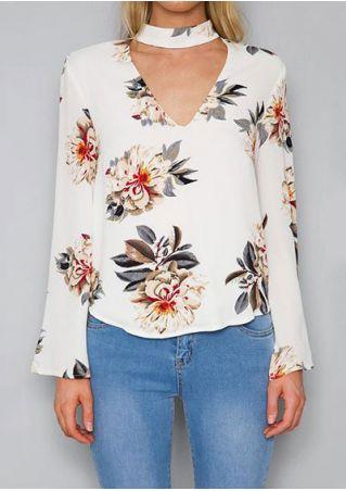 Floral Flare Sleeve V-Neck Blouse
