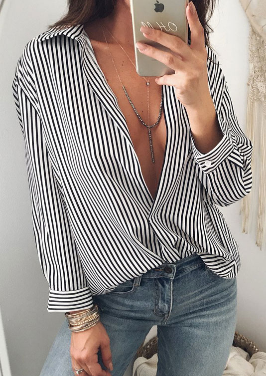 Striped Button Asymmetric Shirt without Necklace 155622