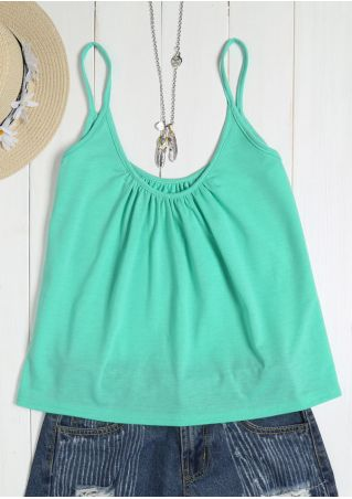 Solid O-Neck Ruched Camisole