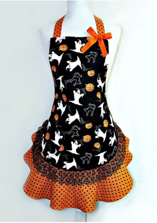 Halloween Ghost Printed Lace Splicing Apron