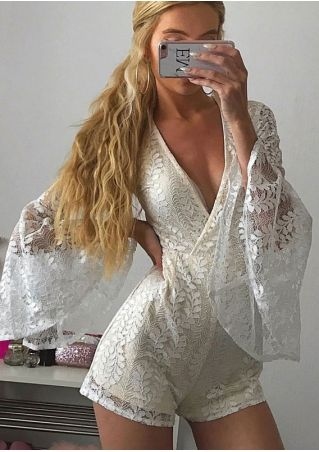 Solid Lace Splicing Flare Sleeve Romper