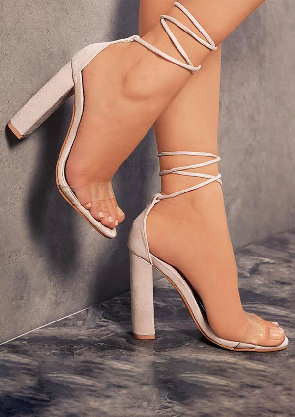 Solid Lace Up Heeled Sandals