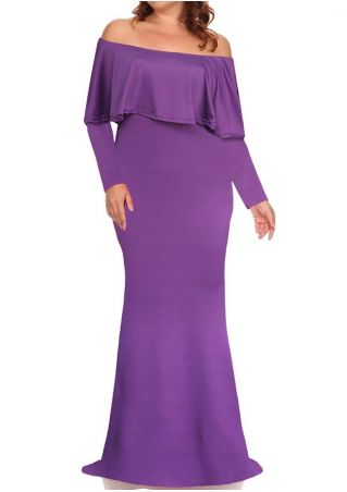 Plus Size Solid Layered Off Shoulder Maxi Dress