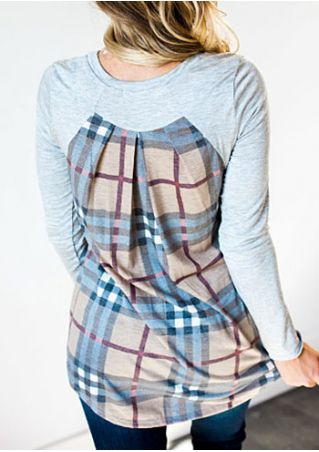 Back Plaid Splicing Long Sleeve Blouse