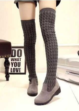 Solid Knitted Folded Thigh-High Boots