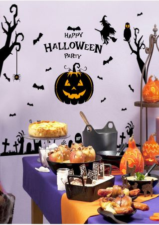 Happy Halloween Party Pumpkin Face Wall Sticker