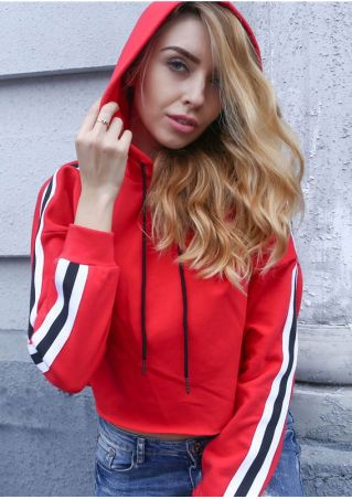 Striped Splicing Drawstring Hooded Crop Top