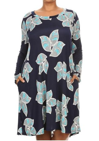 Plus Size Printed Pocket Long Sleeve Casual Dress