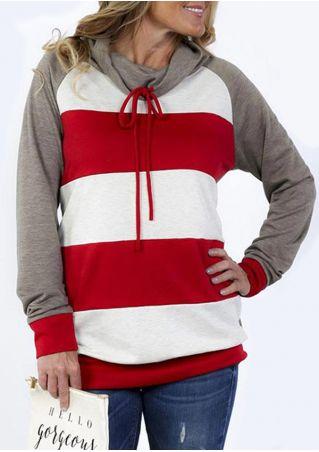Striped Splicing Drawstring Long Sleeve Sweatshirt