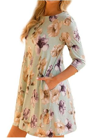 Foral Pocket O-Neck Mini Dress
