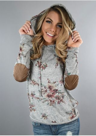 Floral Elbow Patch Pocket Drawstring Hoodie