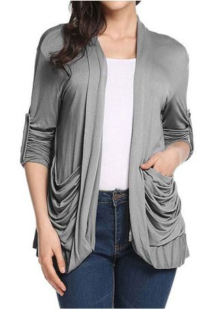 Solid Pocket Tab-Sleeve Cardigan