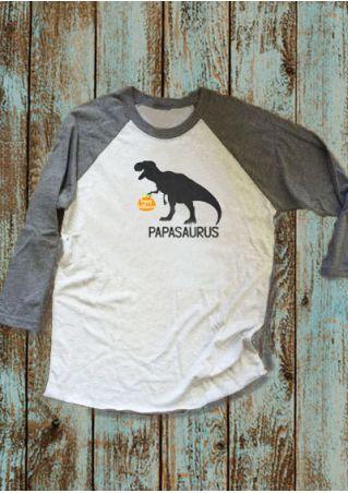 Halloween Papa Saurus Pumpkin Face Baseball T-Shirt