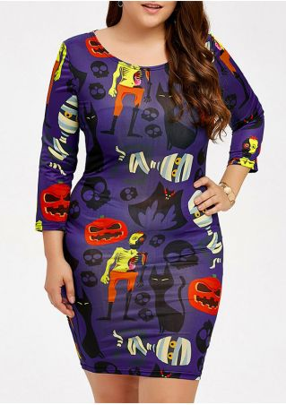 Halloween Plus Size Pumpkin Face Printed Bodycon Dress