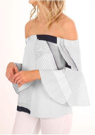 Striped Off Shoulder Flare Sleeve Blouse