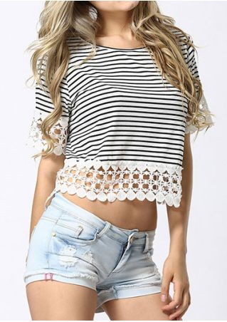 Striped Lace Splicing O-Neck Crop Top