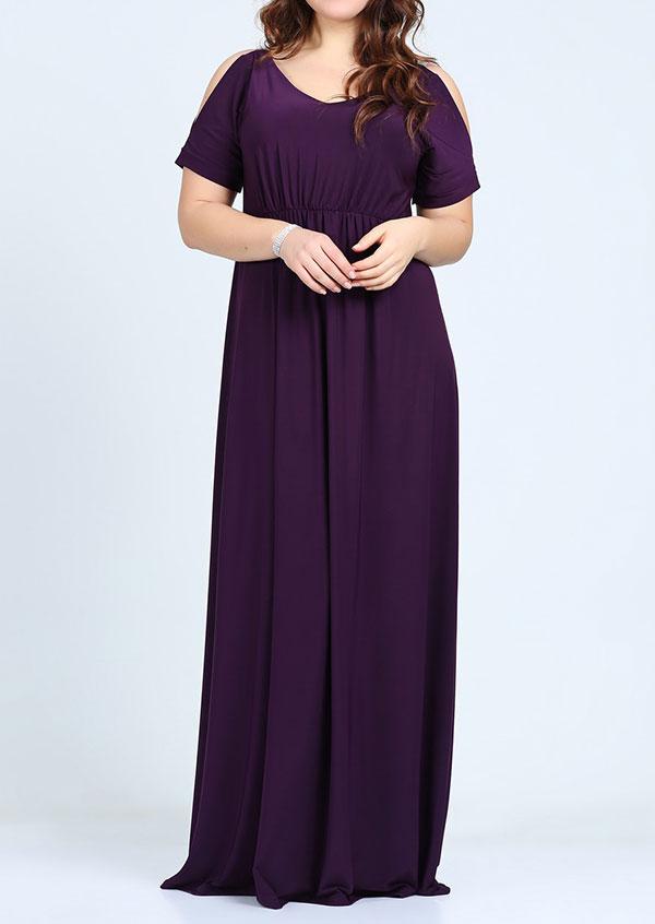 78d8ec4ebd0 Plus Size Solid Cold Shoulder Maxi Dress - Bellelily