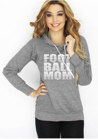 Football Mom Drawstring Pocket Hoodie
