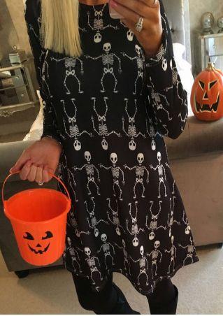 Halloween Skeleton Long Sleeve Mini Dress