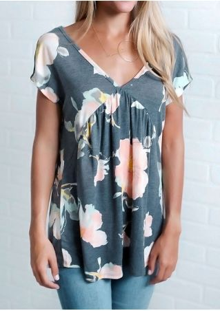 Floral Back Hole V-Neck Blouse without Necklace