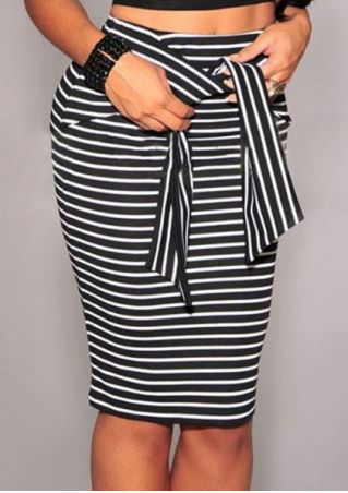 Striped Tie Zipper Bodycon Skirt