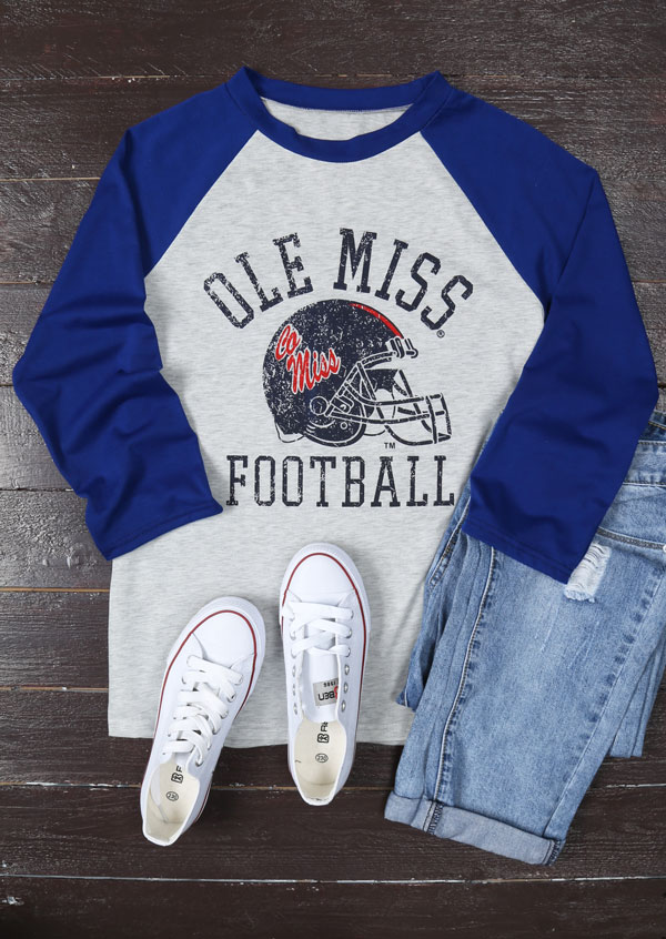 huge discount 3ab42 129b2 Ole Miss Football Baseball T-Shirt - Bellelily