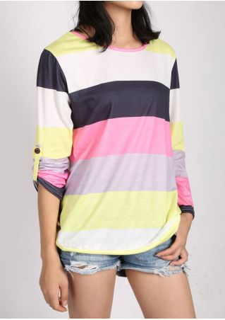 Color Block Button Tab-Sleeve Blouse