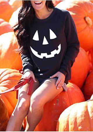 Halloween Pumpkin Long Sleeve Sweatshirt