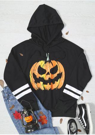 Halloween Pumpkin Striped Drawstring Hoodie
