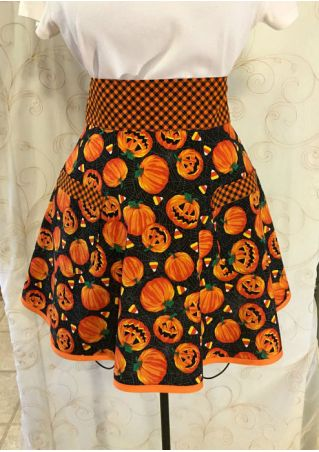 Halloween Pumpkin Plaid Splicing Apron