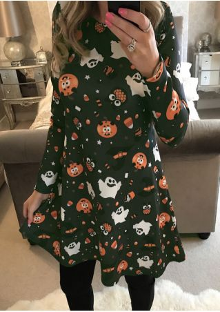 Halloween Pumpkin Ghost Casual Dress