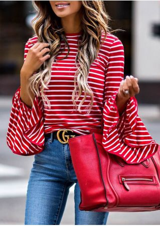 Striped O-Neck Flare Sleeve Blouse