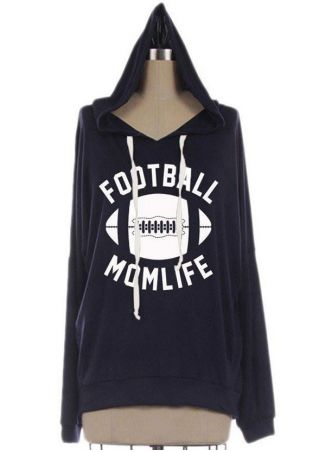 Football Mom Life Drawstring Hoodie