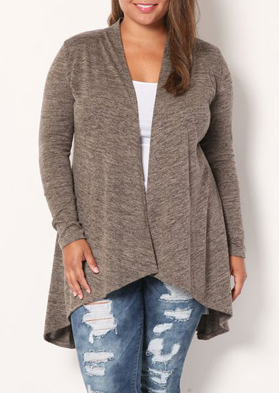 Plus Size Asymmetic Long Sleeve Cardigan 36356