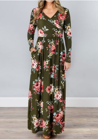 Floral Wrap Ruffled Maxi Dress