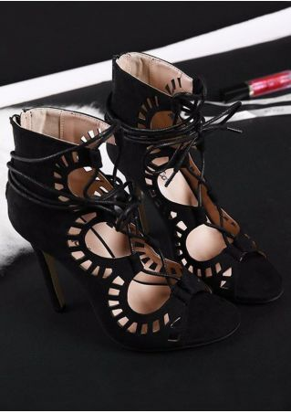 Solid Lace Up Peep Toe Heeled Sandals