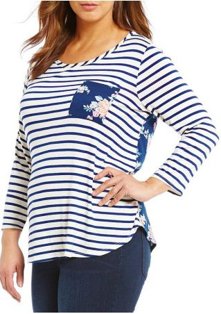 Plus Size Striped Floral Splicing Pocket Blouse