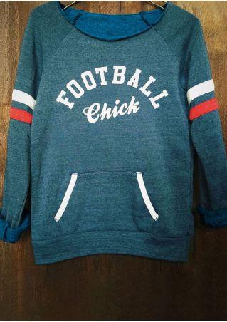 Football Chick Striped Detail Sleeve Sweatshirt