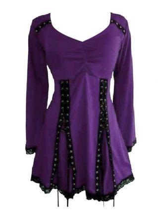 Plus Size Lace Splicing Lace Up Mini Dress