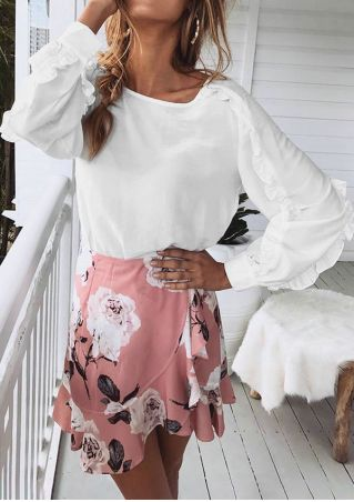 Solid Frill Long Sleeve Blouse