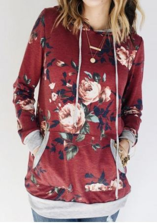 Floral Pocket Drawstring Hoodie without Necklace