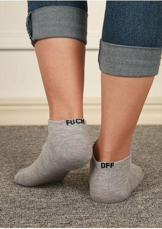 Letter Embroidery Short Socks
