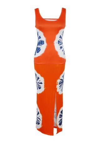 Printed Ruched Slit Maxi Dress