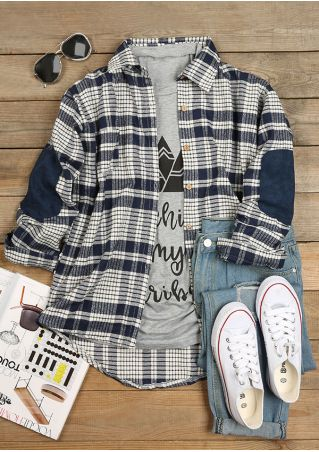 Plaid Elbow Patch Turn-Down Collar Shirt