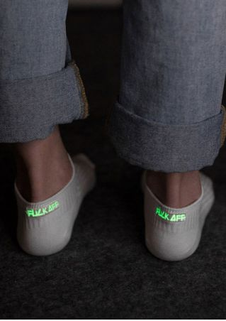 Fluorescent Fuck Off Embroidery Short Socks