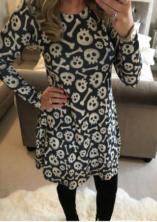 Halloween Skull Bone Casual Dress