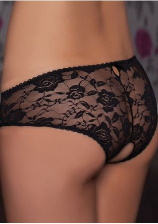 Solid Lace Floral Open-Seat Panties