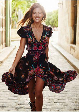 Floral V-Neck Maxi Dress without Necklace
