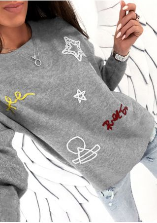 Star Embroidery O-Neck T-Shirt without Necklace