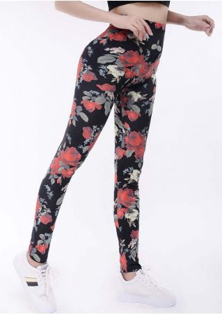 Floral Elastic Waist Skinny Pants